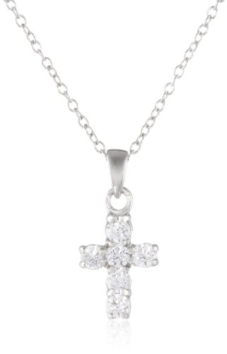 """Sterling Silver Cross Pendant Necklace set with Swarovski Zirconia (.3 cttw), 18.5"""""""
