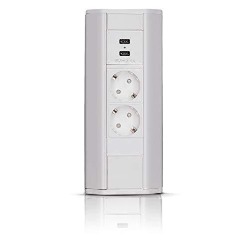 Premium Eck-Steckdose für Küche, Büro aus Aluminium 2 x Schuko Stecker, 2 x USB, weiß. Mehrfachsteckdose mit 1,8m Schuko Kabel. Steckdosenleiste ideal für Arbeitsplatte.