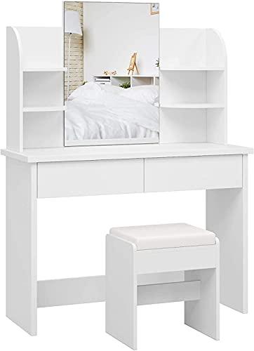 Tocador con Espejo Mesa Maquillaje Tocador Dormitorio con Taburete 2 Cajones 4 Estantes Blanco 107x40x142cm