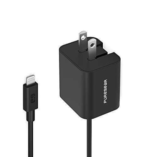 PureGear Apple MFI Certified iPhone Charger - 12W Wall Plug with 5 Foot Lighting Cord for iPhone 12 Mini/12/12 Pro/12 Pro Max/11/11 Pro/Xs Max/XR/X / 8 Plus/SE/iPad with Lifetime Replacement Coverage