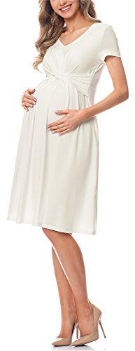Be Mammy Damen Umstandskleid Maternity Schwangerschaftskleid BE20-223 (Ecru, L)