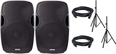 Gemini AS-08P Powered Pro Audio Speaker Pair w/Stands & Covers