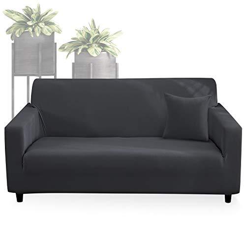 WD&CD Sofabezug, Grau Elastischer Sofabezug 3 Sitzer, Stretch Spandex Couchbezug Sesselbezug Sofahusse mit 1 X Kissenbezug