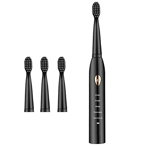 OOFAJ Sonic Toothbrush,USB Rechargeable Electric Toothbrush with 5 Modes, Smart Battery Reminder,Charge for 3 Hours, Use for 30 Days,with 2 Mins Timer And 4/8 Replacement Heads,Black,A