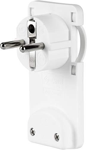 Enchufe plano con protección de contacto, extraplano, 6 mm, 250 V, 16 A, color blanco