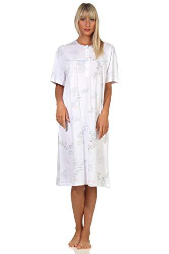 NORMANN-Wäschefabrik Damen Nachthemd Kurzarm Klassische Design mit Knopfleiste am Hals - 112 210 90 310, Farbe:hellblau, Größe:48-50