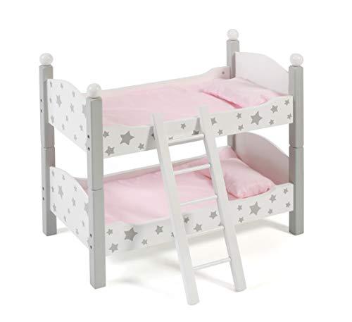 Bayer Chic 2000 513 95 - Puppen-Etagenbett für Baby-Puppen bis 48 cm, Puppenbett, Puppenmöbel, Stars grau