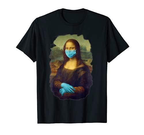 Mona Lisa Con Máscara Mono Mascarilla arte Leonardo Da Vinci Camiseta