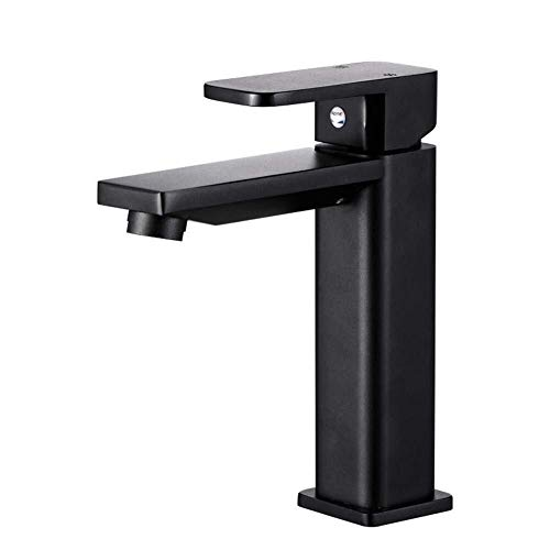 Yongenee Grifo del baño del Grifo del Lavabo de Aluminio del Espacio de baño Cuarto de baño Cuarto de baño Grifo del Lavabo del Grifo de la Pintura Mate Negro de Uso Diario, Duradero