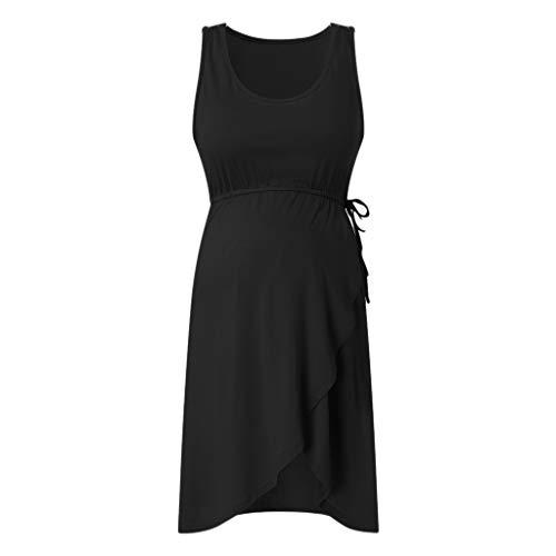 PQZATX Umstands Kleid Frauen Mutterschaft ?Rmellose Lieferung Stillen Baby Nachthemd Still Kleid Schwarz S.