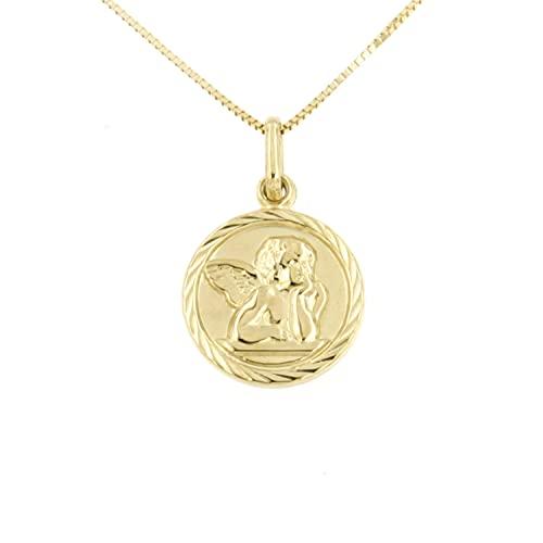 Lucchetta - Ciondolo in Oro Giallo 9k con Angelo di Raffaello su Medaglia pendente con Catenina lunga 45cm, Collana d'Oro Donna - Made in Italy, XD8360