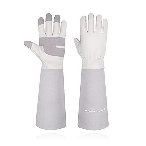 Guanti da giardinaggio per donne e uomini, in pelle, a maniche lunghe, per potare le rose, guanti da lavoro a prova di spina (M, grigio)