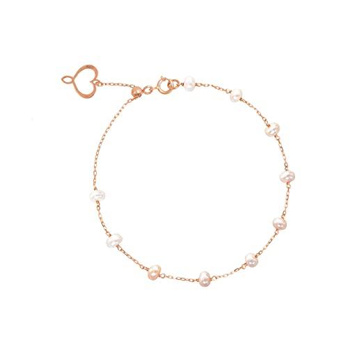 Maman et Sophie Pulsera Aurum de oro rosa de 18 quilates y perlas de agua dulce BPPTAPE