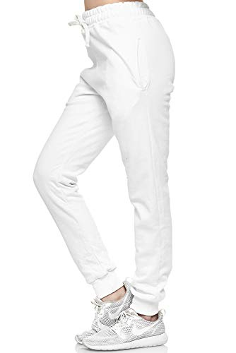 L.gonline Damen Jogginghose | Uni Colour Design 5000 | Trainingshose | Homewear | Fitness | Sport | Freizeit | Yoga | Wellness | 3XL, Weiß