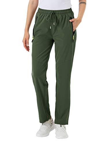 donhobo Damen Hose Outdoor Schnelltrocknend Wanderhose Leichte Wasserabweisende Kletterhose Trekkinghose mit Reißverschlusstaschen (Grün, XL)