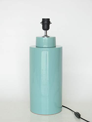 POLONIO Lámpara de Ceramica Sobremesa Mediana de Salon Color Verde de 32 cm E27, 60 W - Pie de Lámpara de Cerámica Verde Aguas - Jarron de Ceramica Verde.