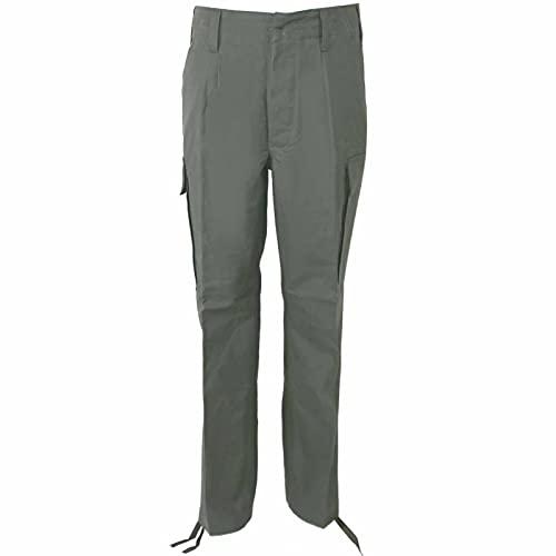 Leo Köhler, pantaloni da campagna in 100% cotone, realizzati secondo TL, 1 paio di elastici per pantaloni, colore nero oliva 32 IT
