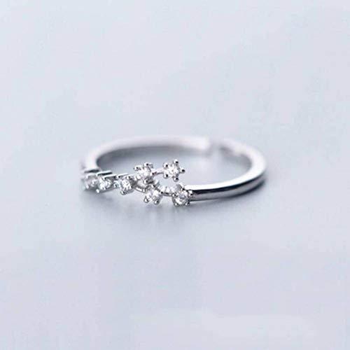 S925 Anillo de Plata Hembra Fresca, Minimalista, Diamante, 12 Constelaciones, Anillo Abierto, Anillo Simple, B-S, León