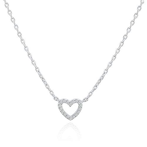 PAVOI 14K Gold Plated Cubic Zirconia Heart Necklace | Layered Necklaces | White Gold Necklaces for Women