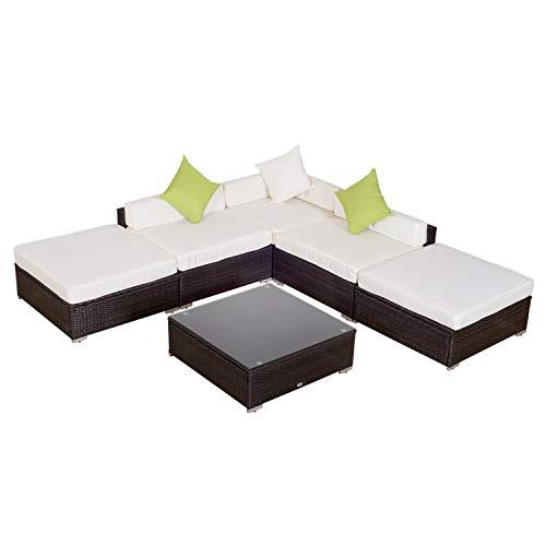 divano da giardino Outsunny Mobili da Giardino in Rattan PE con Divano Angolare e Pouf con Cuscini Telaio Set da 18 Pezzi