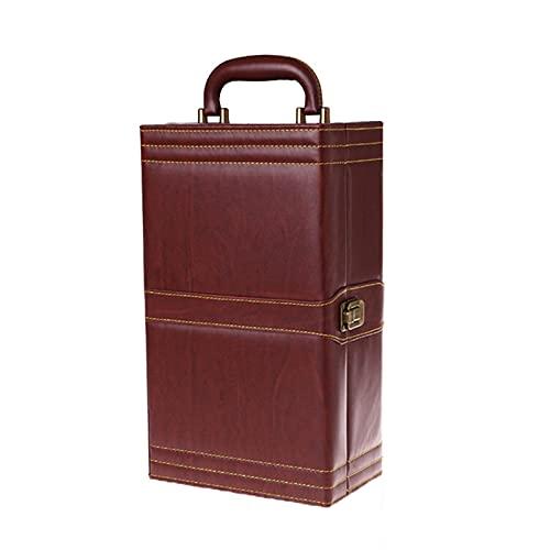 SGSDG Cuero de la PU Caja De Botella De Vino Dos Rejilla De Vino PortáTil Caja de Vino Lujoso Caja de Regalo de Vino con 4 Accesorios para Sacacorchos De Vino para Regalo De Negocios De FelicitacióN