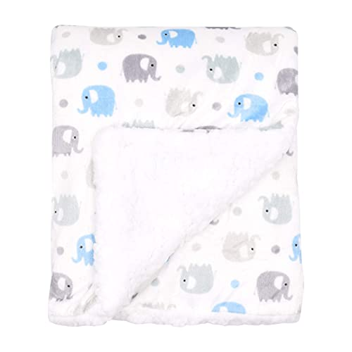 """Large Ultra Soft Gray and Blue Elephant Minky Baby Blanket for Boys by Everyday Kids; Mink and Sherpa Toddler and Baby Boy Blanket Measures 30 x 40""""; Trendy Animal Elephant Baby Nursery Decor"""