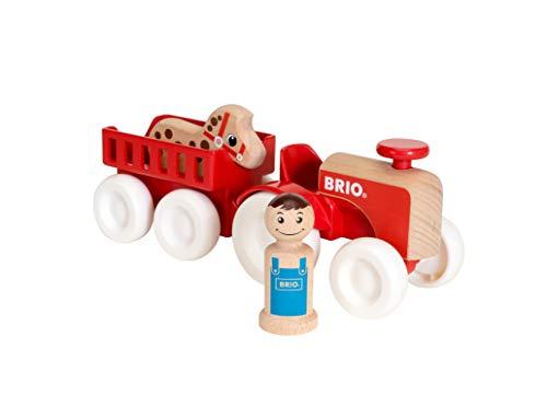 BRIO 30265 - My Home Town Traktor mit Pferde-Anhänger