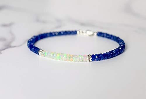 LOVE KUSH JEWELRY Burmese Sapphire & Fire Opal Bracelet, Natural Sapphire Jewelry Handmade, Ethiopian Opal Beaded Gemstone Bracelets, Christmas Gift for Her