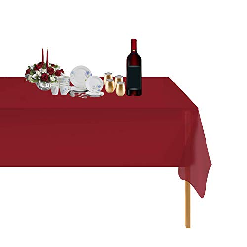 6 Pack Disposable Plastic Tablecloths Picnic Table Cover Party Supplies,54InX108In Table Cloth Cover Rectangle For Indoor Or Outdoor Parties Thanksgiving Christmas Wedding Anniversary,Red
