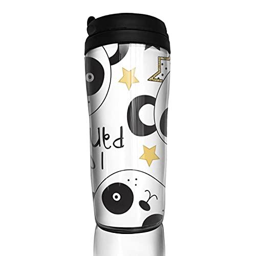 Taza de café con diseño de panda de princesa, aislada, reutilizable, de doble pared, de acero inoxidable con tapa a prueba de fugas para bebidas calientes, té y cerveza, 400 ml