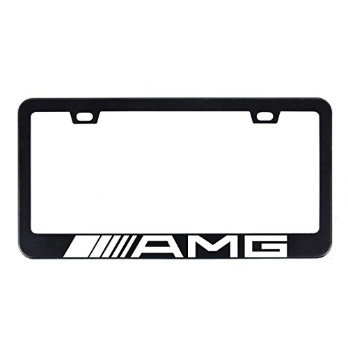 Deselen - LP-BS17PB - Stainless Steel License Plate Frame with Screw Caps Cover Set for AMG, Matte Black (2 Pieces)