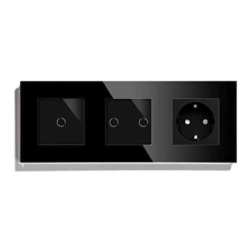 DJNCIA Schalttafel Standard 1/2 1 Wall Touch Sensor Switch mit Wandbuchse Schwarz Weiß Goldene Glasplatte...
