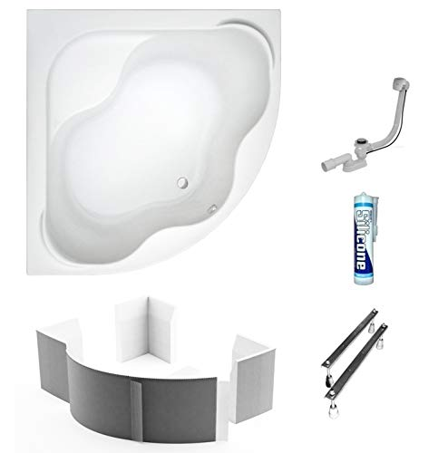 ECOLAM symmetrische Badewanne Eckwanne Samanta 150x150 cm Acryl weiß + Styroporträger zum Verfliesen Ablaufgarnitur Ab- und Überlauf Automatik Füße Silikon Komplett-Set