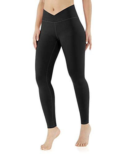 ODODOS Women's Cross Waist Yoga Leggings, Workout Running Gym Leggings,Black,X-Large