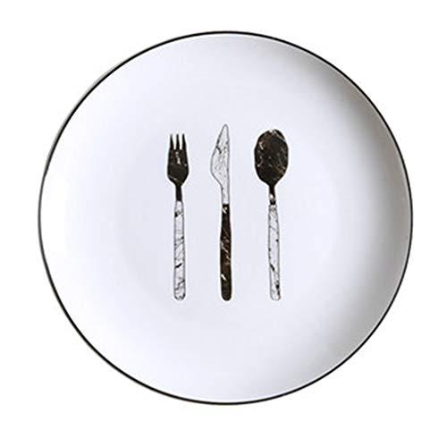 XIUXIU Plateau De Pain De Petit Déjeuner De Dessin Animé Nordique À La Maison Plat Pastoral En Céramique Plat À Steak Occidental (Color : C)