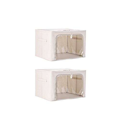 Jumbo-Aufbewahrungstaschen, Mit Baumwollleinen Und Reißverschluss Verstärkter Griff Dickes Gewebe Faltbares Klares Fenster Effektiver Feuchtigkeitsbeständiger Kleidungsorganisator,Für Lagerbehälter
