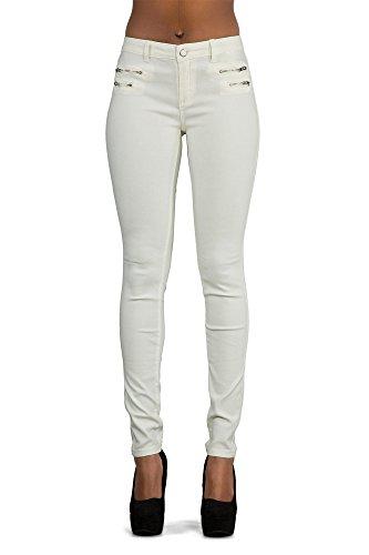Crazy Lover Hochwertige Damenhosen, Glatte Damen Hose, Frauen Kunstlederhose, PU Lederhose Jean (34, Weiß)