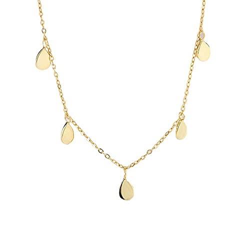 collar Mujer Collar de disco de plata S925, colgante de cadena de clavícula suave con gota de agua, joyería