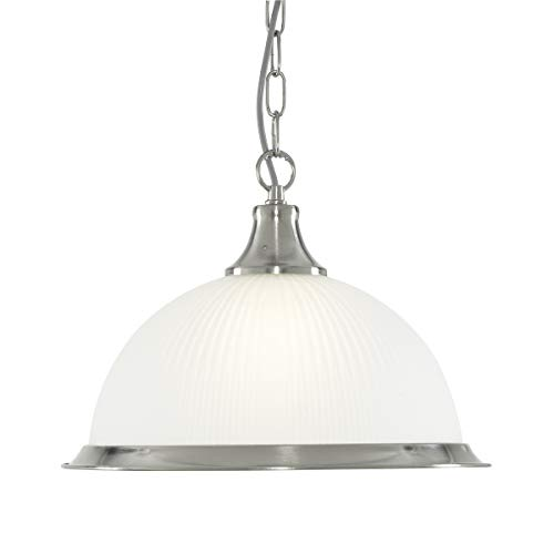 Hängeleuchte in Silber Jugendstil 1xE27 bis zu 60 Watt 230V aus Metall & Glas Schlafzimmer Küche Wohnzimmer Esszimmer Lampe Leuchten innen