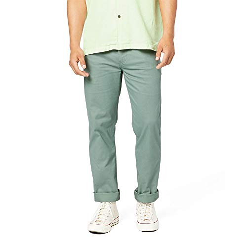 dockers Straight Fit Jean Cut All Seasons Tech Pants Pantalones Informales, Laurel - Corona (Madera), Color Verde, 36W/32L para Hombre