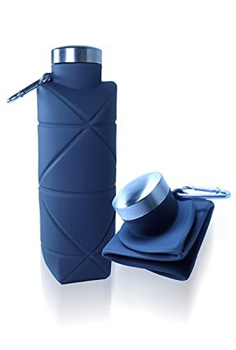 Botellas de Agua Plegables 700 ml - Botellas para hidratación - Botellas de Agua de Viaje a Prueba de Fugas, Libre de BPA y olores - Botella de hidratación Liviana para Hacer Deporte (Gris)