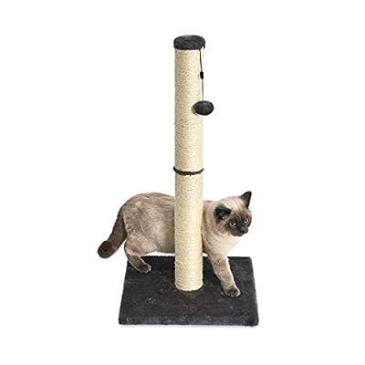 Rascador de un solo poste para gatos con juguete colgante reemplazable La robusta base evita que el poste se vuelque Ayuda a evitar que tu gato dañe las alfombras, los muebles, las cortinas, etc. Los postes de fibra de yute natural ayudan a mantener ...