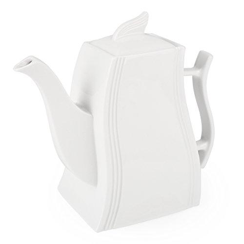 MALACASA, Serie Flora, 1000ml Kaffeekanne Teekanne CremeWeiß Porzellan