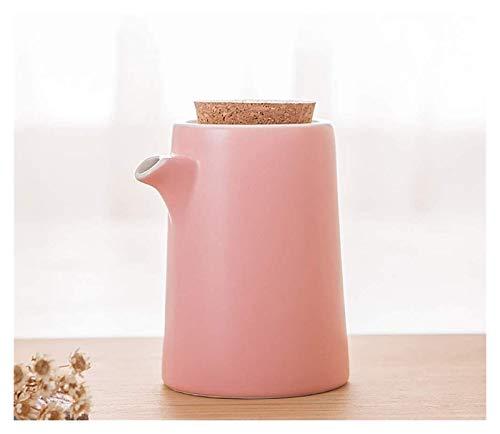 WANGQW El Aceite Puede olivar o vinagre Anti-Fuga, Teléfono de Aceite de Oliva Dispensador de Aceite Botella de Soja o vinagre Cena de cerámica Cena Líquido Dispensador de condimentos (Color : Pink)