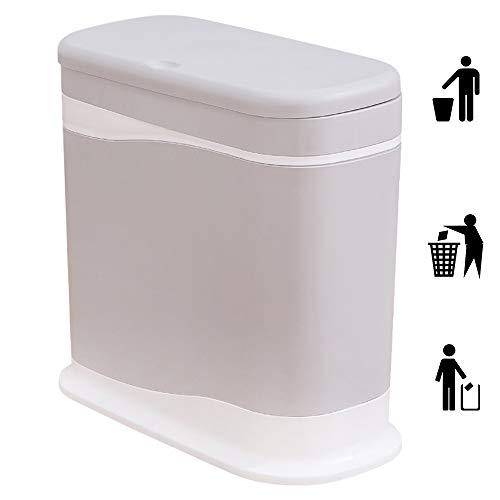 DelongKe Ovale Slank Afval Bin met Deksel Dubbele Compartiment Pers-Type Huishoudelijke Vuilnisbak Smalle Afval Mand voor Thuis, Kantoor, Dorm, Keuken, Auto