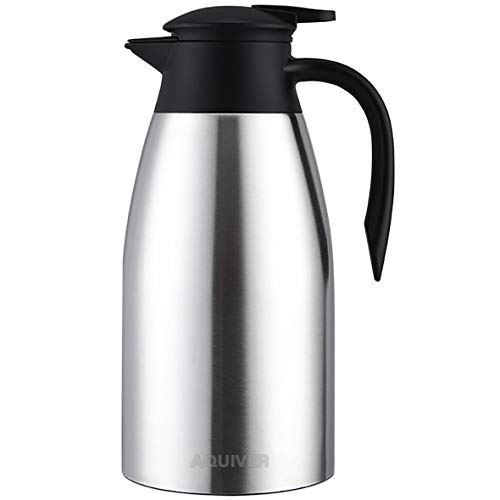 AQUIVER 68 OZ Stainless Steel Coffee Carafe, 12 Hour Heat/Cold Retention Insulated Thermos, 2L Doubl