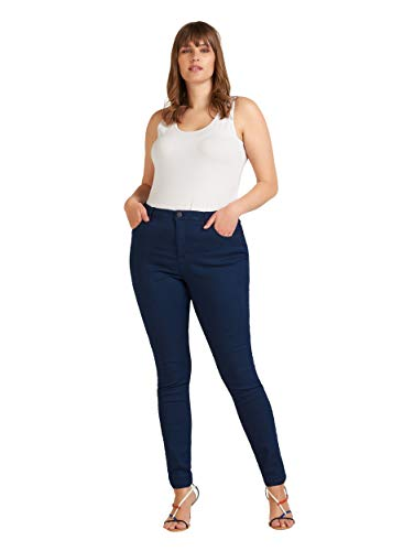 Zizzi Damen Amy Jeans Slim Fit Jeanshose Stretch Hose ,Blau,50 / 82 cm