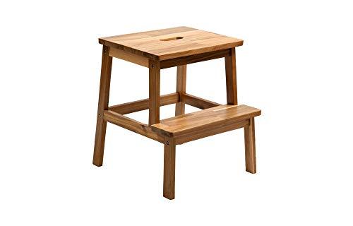 BEEFURNI Rectangular 2 Steps Ladder Sturdy Acacia Wood Sitting Seat...