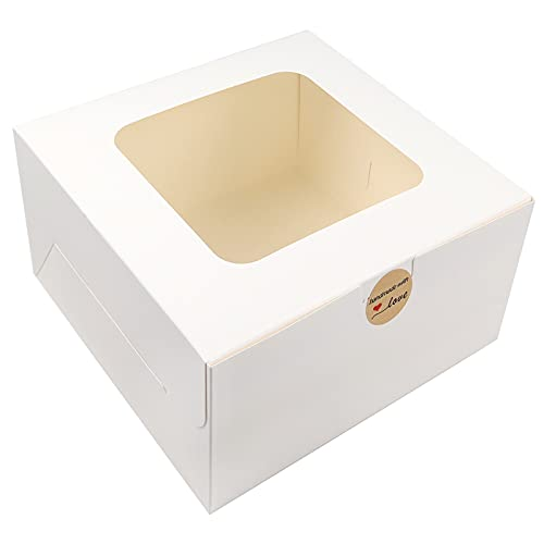 Moretoes 24pcs 10x10x5 Inches Cake Boxes with Window White Paper Bakery Box Square Cardboard Cajas Pasteles Disposable Cake Box for Pastries, Cookies, Pie, Cupcakes