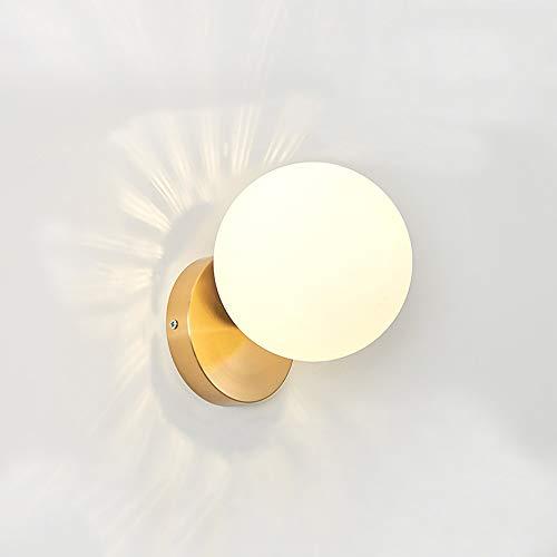 DSYADT Lámparas de Pared LED Lámpara de Pared de Bola de Vidrio E27 Lámpara de Noche de Arte de Hierro para Dormitorio Sala de Estar Pasillo Escalera Camino 1 Lámpara/Diámetro: 15 cm
